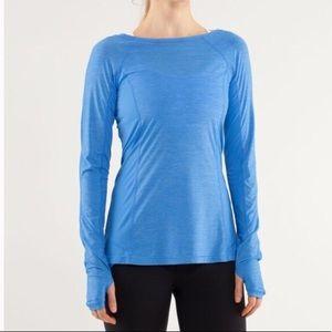 Lululemon Run in the Sun Running Blue Ruffle Shirt